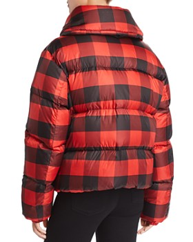 Kendall + Kylie - Oversized Plaid Puffer Coat