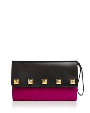 Studded Suede & Leather Clutch, Berry/Gold