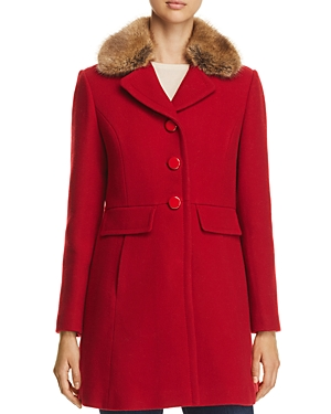 kate spade new york Twill Faux Fur Trim Coat - 100% Exclusive