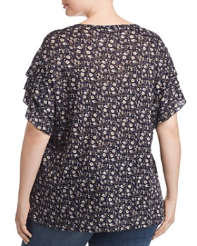 VINCE CAMUTO Plus - Floral Ruffle-Sleeve Top