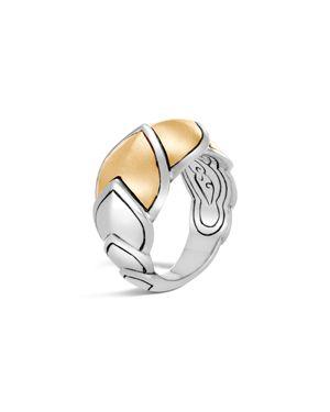 Sterling Silver & 18K Bonded Gold Legends Naga Brushed Medium Ring, Yellow/Gray