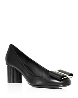Salvatore Ferragamo - Capua 55 Leather Floral Heel Pumps