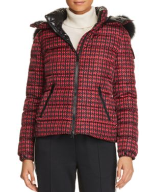 Badyfur Houndstooth Puffer Jacket W/ Removable Fur-Trim Hood, Red/Black