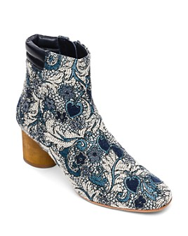 Bernardo - Izzy Embroidered Wood-Heel Booties