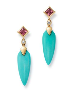 OLIVIA B 14K YELLOW GOLD STABILIZED TURQUOISE, PINK TOURMALINE & DIAMOND DROP EARRINGS - 100% EXCLUSIVE
