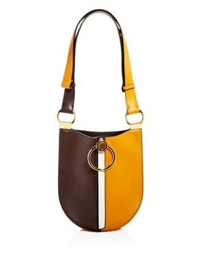 EARRING COLOR-BLOCK SMALL LEATHER HOBO