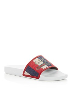 Gucci - Men's Logo Striped Slide Sandals