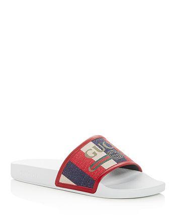 Gucci - Men's Logo Striped Slide Sandals