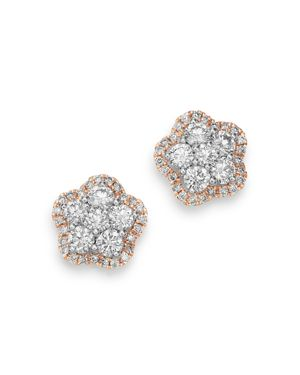 Bloomingdale's Diamond Flower Stud Earrings in 14K Rose & 14K White Gold, 1.0 ct. t.w. - 100% Exclus