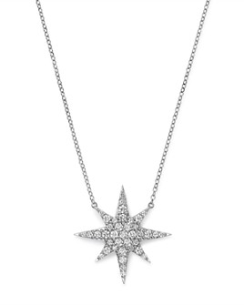 Bloomingdale's - Pavé Diamond Star Pendant Necklace in 14K White Gold, 1.0 ct. t.w.
