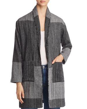 Organic Cotton Striped Long Cardigan Jacket, Black
