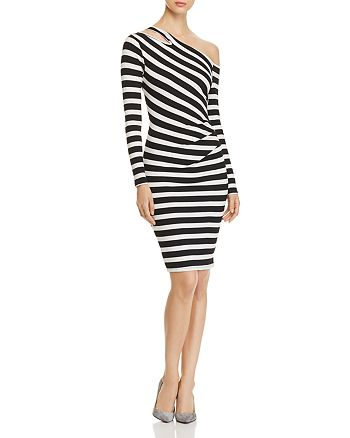 Three Dots - Alpine Asymmetric-Shoulder Striped Dress