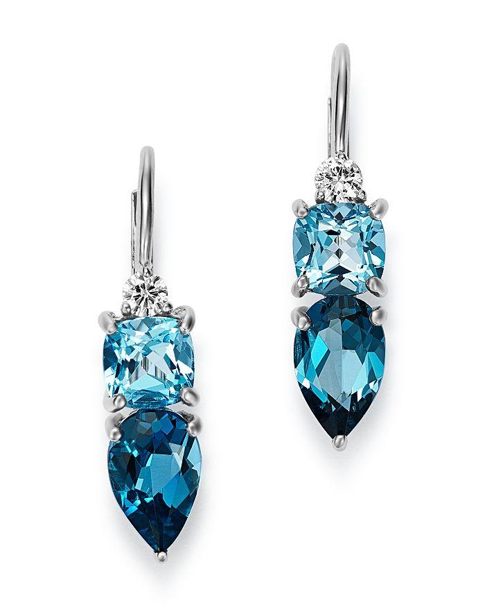 Diamond Swiss Blue Topaz London Drop Earrings In 14k White Gold 100 Exclusive