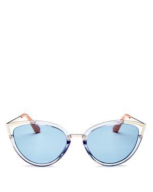 QUAY Hearsay 65Mm Cat Eye Sunglasses - Blue/ Blue