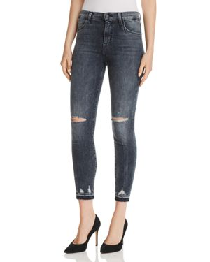 Alana Cropped High-Rise Distressed Skinny Jeans, Flurry