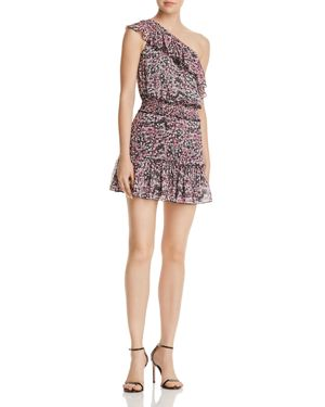 KARINA GRIMALDI JOSUE RUFFLED ONE-SHOULDER FLORAL DRESS