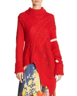 PREEN LINE Asymmetric Turtleneck Sweater in Red