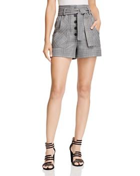 Maje - Iraime Belted Plaid Shorts
