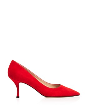 Stuart Weitzman - Women's Tippi 70 Pointed Toe Suede Kitten Heel Pumps