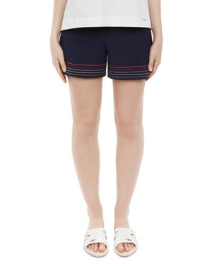 Colour By Numbers Sapphia Stitch-Detail Shorts in Navy
