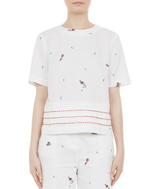 COLOUR BY NUMBERS NOLEEN EMBROIDERED SHELL