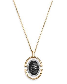 "Bloomingdale's - Black Diamond & White Diamond Pendant Necklace in 14K Yellow Gold, 18"" - 100% Exclusive"