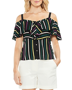 Vince Camuto Petites Paradise Stripe Cold-Shoulder Top