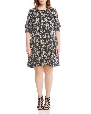 Karen Kane Plus Ruffle-Sleeve Floral Print Dress