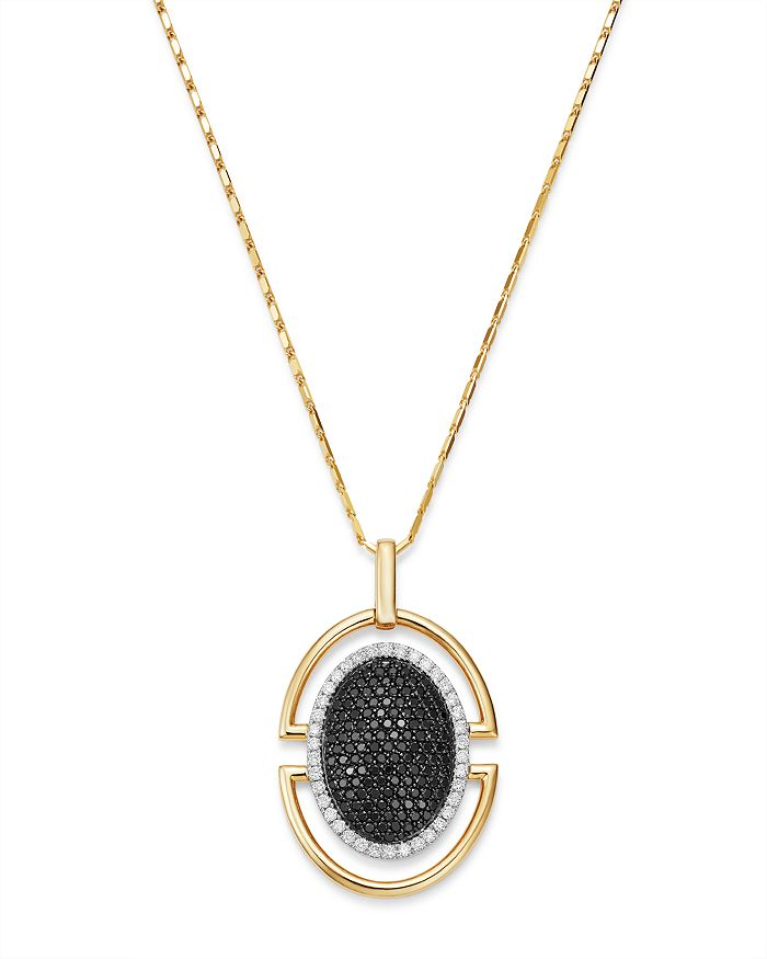 Bloomingdale's - Black & White Pavé Diamond Oval Pendant Necklace in 14K Yellow Gold - 100% Exclusive