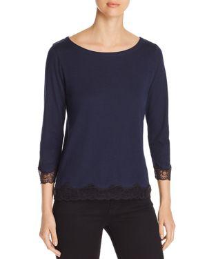 Majestic Filatures Button-Back Lace-Trim Top