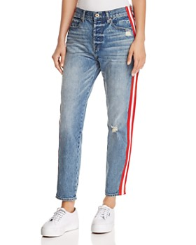 Pistola - Nico Striped Distressed Straight-Leg Jeans in Racer