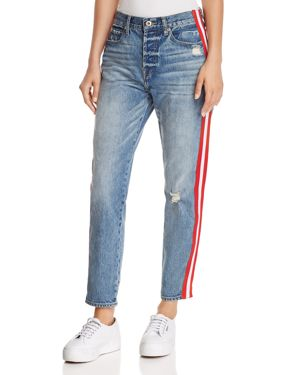 PISTOLA NICO STRIPED DISTRESSED STRAIGHT-LEG JEANS IN RACER
