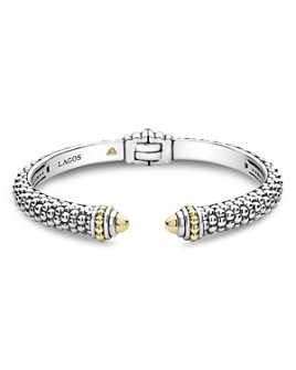 LAGOS - 18K Yellow Gold & Sterling Silver Signature Caviar Cuff Bracelet
