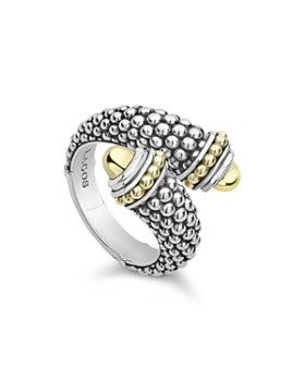 LAGOS - 18K Yellow Gold & Sterling Silver Signature Caviar Crossover Ring