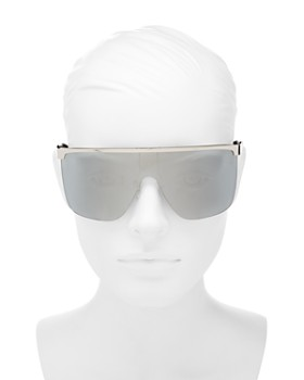 Givenchy - Women's Mirrored Flat Top Rimless Shield Sunglasses, 160mm