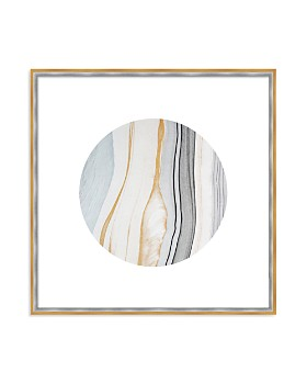 "Art Addiction Inc. - Beige/White Rock Swirl Circle #3 Wall Art, 24"" x 24"""