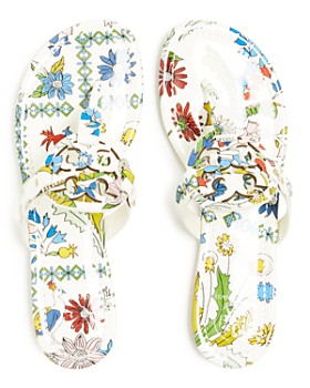 Tory Burch - Women's Miller Floral Patent Leather Thong Sandals