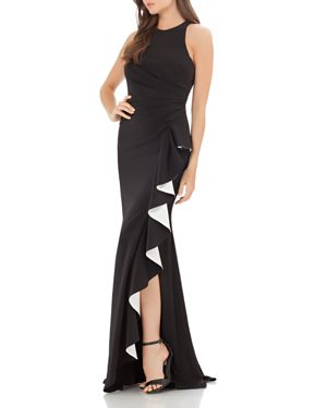 CARMEN MARC VALVO INFUSION CONTRAST RUFFLE GOWN