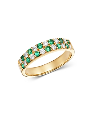 Bloomingdale's Emerald & Diamond Checkered Band Ring in 14K Yellow Gold - 100% Exclusive