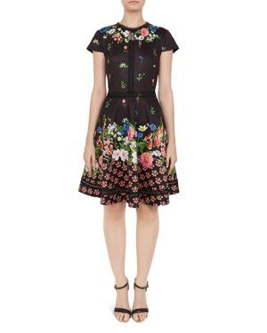 Daissie Florence Trim Skater Dress, Black