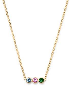 "Zoë Chicco - 14K Yellow Gold Rainbow Sapphire Bezel-Set Bar Pendant Necklace, 16"""