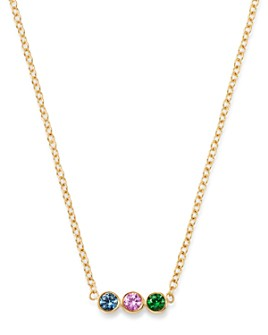 Zoë Chicco - 14K Yellow Gold Rainbow Sapphire Bezel-Set Bar Pendant Necklace, 16""