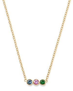 Zoe Chicco 14K Yellow Gold Rainbow Sapphire Bezel-Set Bar Pendant Necklace, 16
