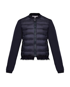 Moncler - Girls' Contrast Knit Ruffled Puffer Jacket - Big Kid