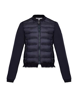 Moncler Girls Contrast Knit Ruffled Puffer Jacket  Big Kid