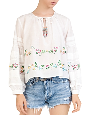 The Kooples Shirred Tie-Detail Embroidered Top
