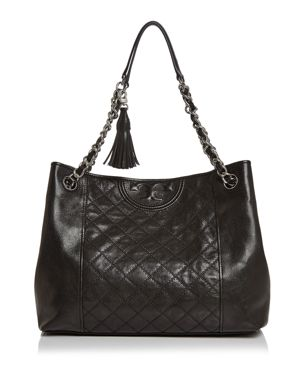 Fleming Distressed Leather Tote - Black, Black/Silver
