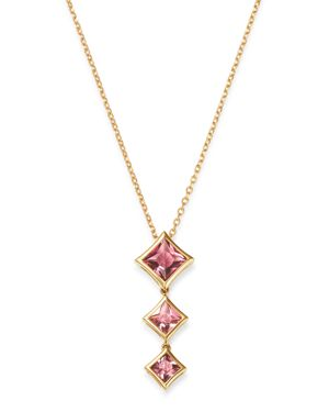 OLIVIA B 14K YELLOW GOLD TIERED PINK TOURMALINE DROP PENDANT NECKLACE, 17 - 100% EXCLUSIVE