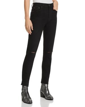 PISTOLA NICO MOM HIGH-RISE DISTRESSED STRAIGHT-LEG JEANS IN EMBERS