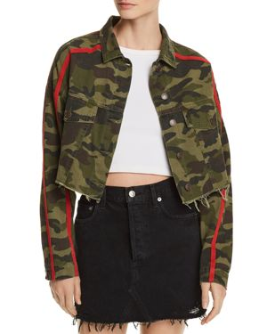 SUNSET & SPRING SUNSET + SPRING CAMO CROPPED DENIM JACKET - 100% EXCLUSIVE